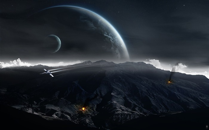 Sci-fi Space Art-X-Wing on patrol- Spacescapes Views:26906 Date:9/15/2011 6:18:50 AM