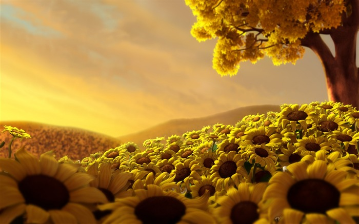 Sunflower Flower Field-Summer romance Feelings Views:7154