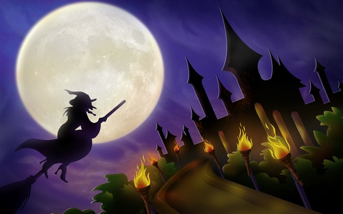 Witch and her Castle-Halloween Illustration Design Wallpaper Views:9115