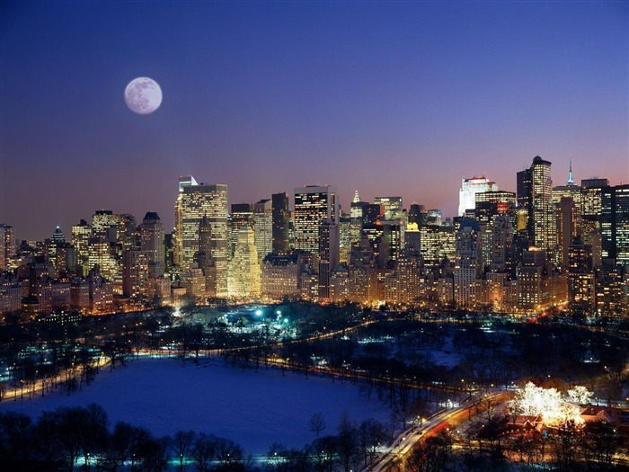 Moonrise Over Manhattan-Travel in the world - photography wallpaper Views:6682