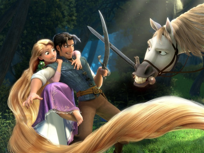 tangled rapunzel flynn maximus-Tangled 2010 animated wallpaper Views:18793