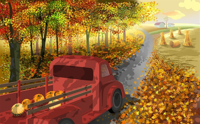 Back to the farm-Thanksgiving day wallpaper illustration design Views:6184