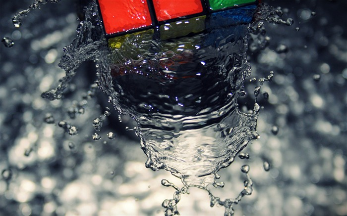 Cube wave-Drops of water droplets macro photography HD picture Views:12280
