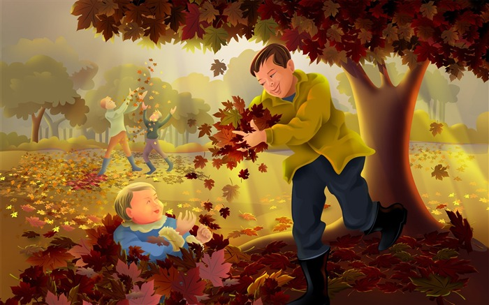 Father and son together-Thanksgiving day wallpaper illustration design Views:4916