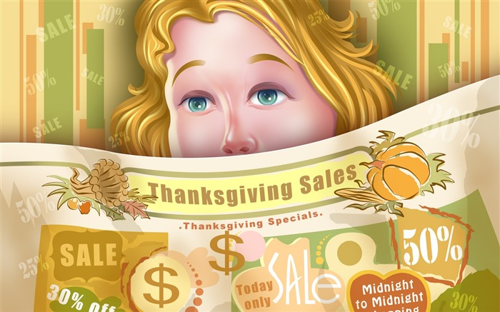 Festival promotional posters-Thanksgiving day wallpaper illustration design Views:5163