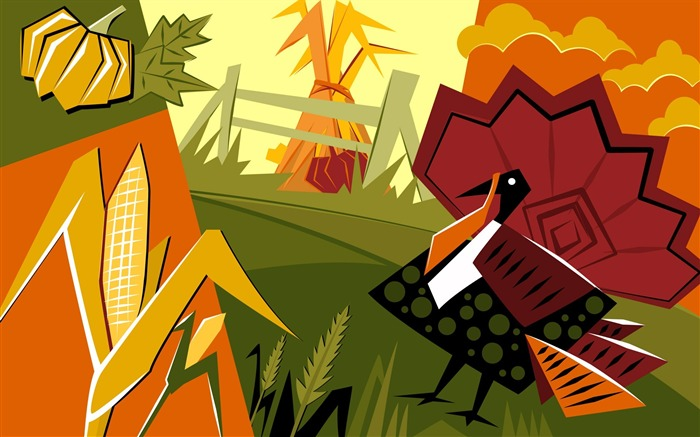 Guarding the farm-Thanksgiving day wallpaper illustration design Views:4319