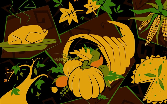 Rich foods-Thanksgiving day wallpaper illustration design Views:5293