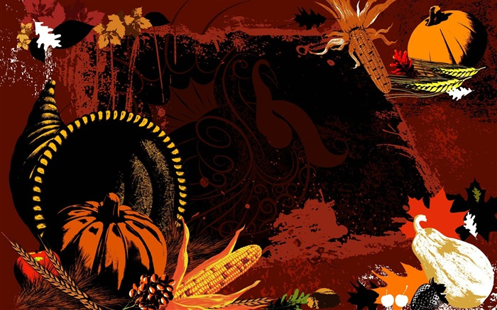 Rich foods -Thanksgiving day wallpaper illustration design Views:4001