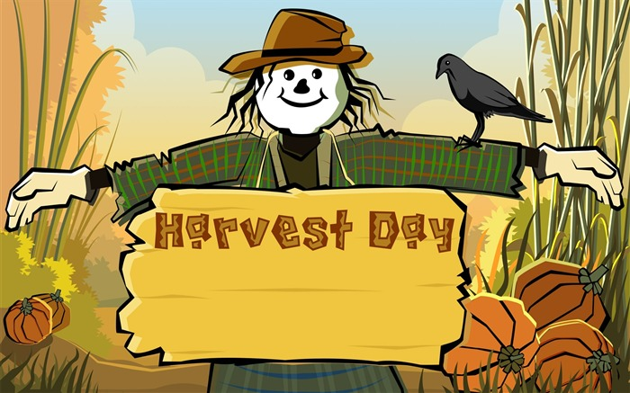 Scarecrow Harvest festival-Thanksgiving day wallpaper illustration design Views:9041