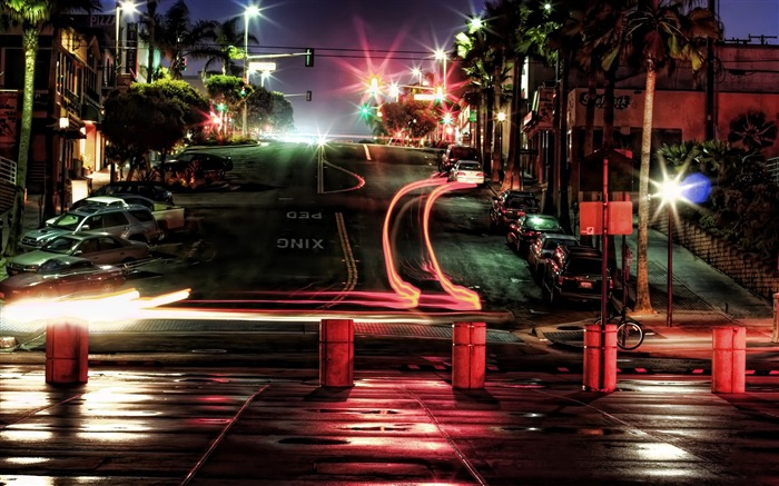 car lights at night-The urban landscape photography Desktop Wallpapers Views:13067