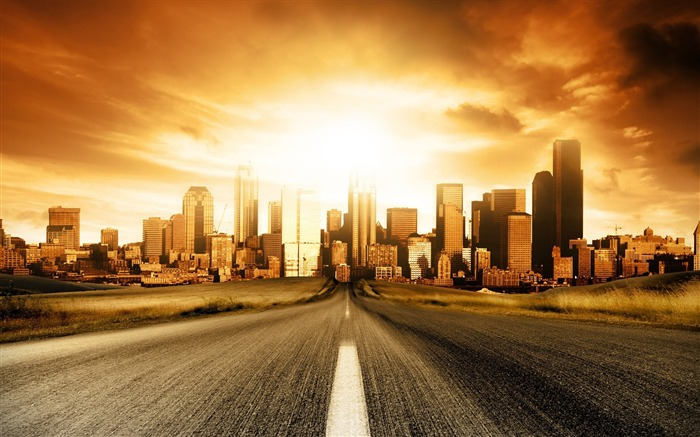 road to city-The urban landscape photography Desktop Wallpapers Views:76425