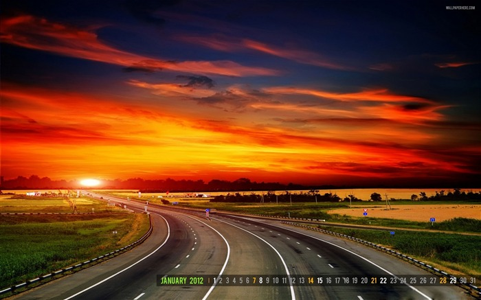 Highway-January 2012 calendar desktop themes wallpaper Views:5647 Date:12/30/2011 11:53:25 PM