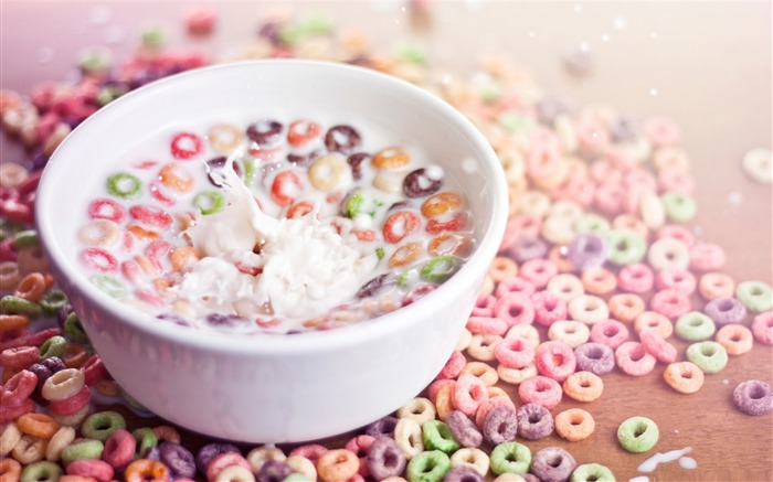 bowl of cereal and milk-sweet foods Desktop Wallpaper Views:7847