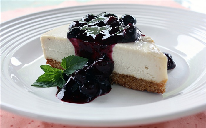 cheese cake with blueberry sauce-sweet foods Desktop Wallpaper Views:6755
