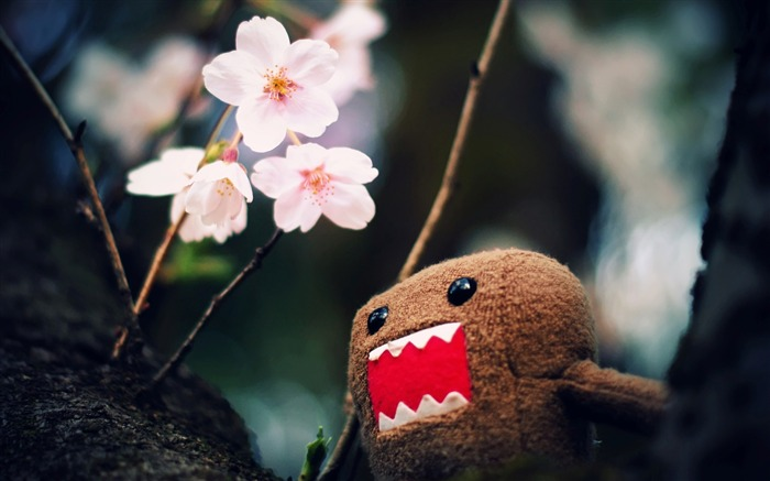 domo kun and tree blossoms-Cute funny design desktop picture Views:12530