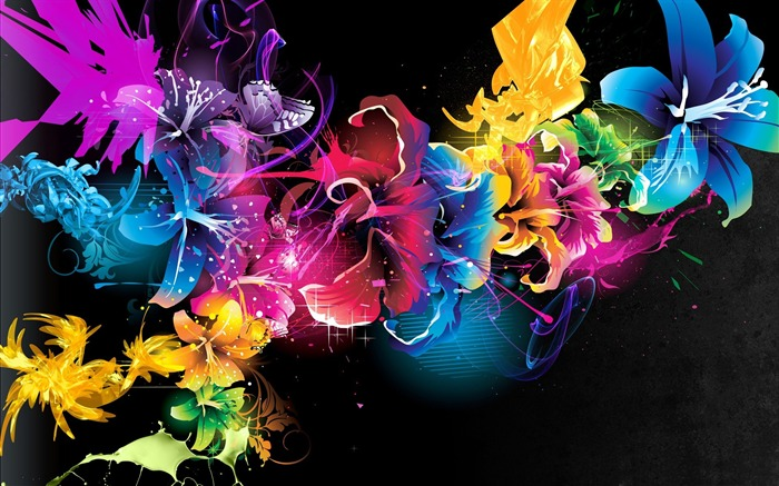 colorful flowers-Dream glare colorful design theme wallpaper Views:4647