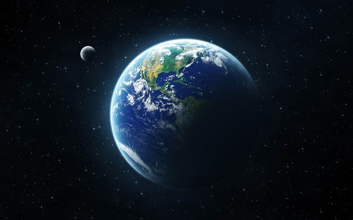 earth and moon from space-Space Photography Desktop Wallpaper Views:16550