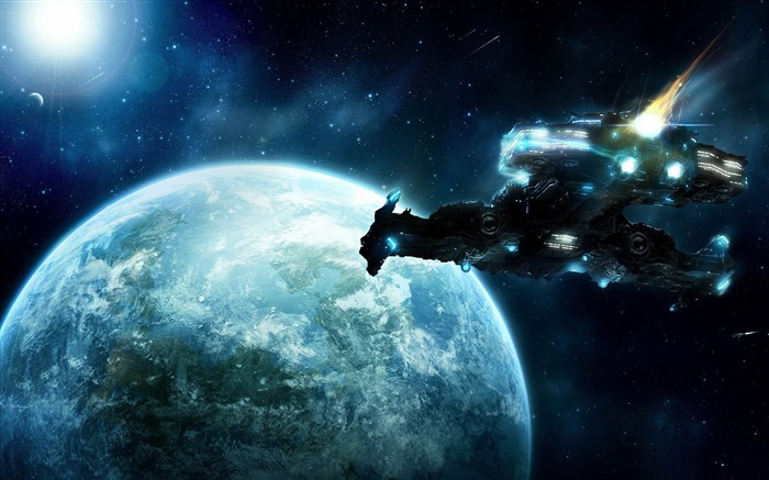 spaceship in space-Space Photography Desktop Wallpaper Views:22329