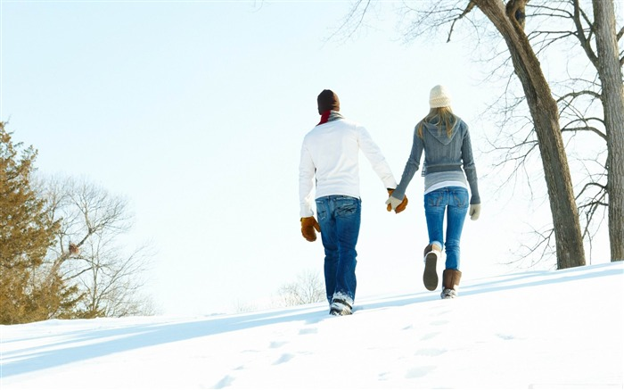 a romantic walk through the snow-Valentines Day theme desktop picture Views:17889