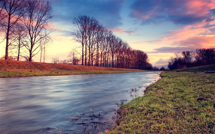 countryside stream at sunset-Beautiful river landscape photography Views:6733