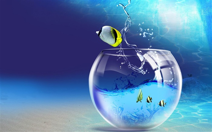 fish jumping out of aquarium-Photoshop Creative Design picture Views:13140