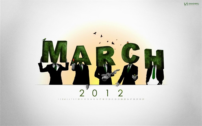 March 2012 calendar desktop themes wallpaper-second series Views:7419