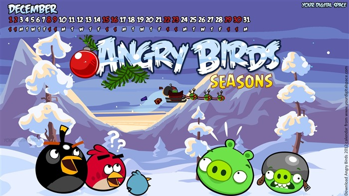 December-Angry bird the whole of 2012 Calendar Wallpaper Views:5294