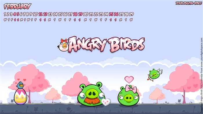 February-Angry bird the whole of 2012 Calendar Wallpaper Views:3871