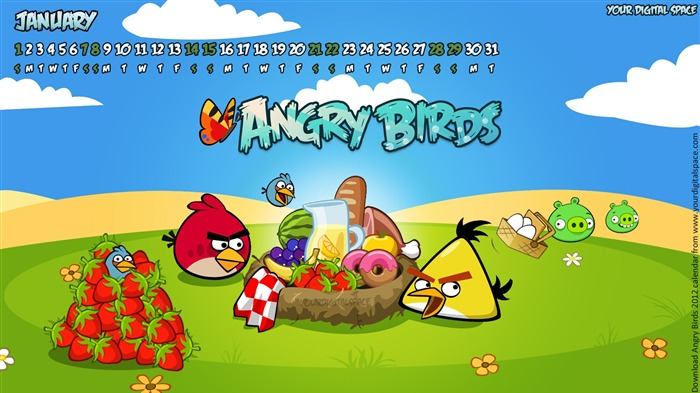 Angry bird the whole of 2012 Calendar Wallpaper Views:8572