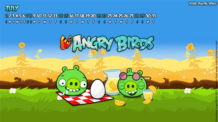 July-Angry bird the whole of 2012 Calendar Wallpaper Views:5479