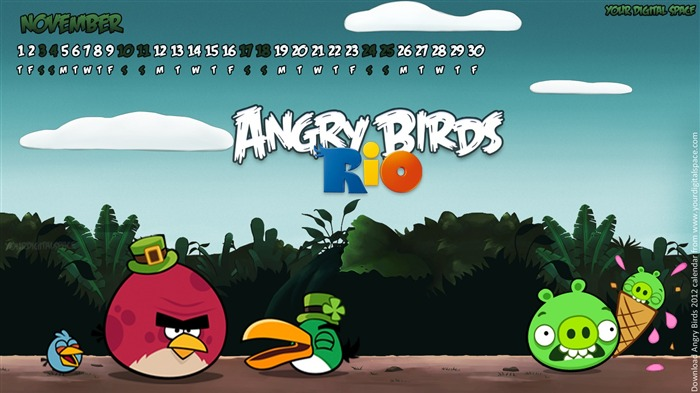 November-Angry bird the whole of 2012 Calendar Wallpaper Views:4745