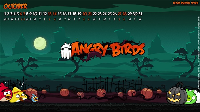 October-Angry bird the whole of 2012 Calendar Wallpaper Views:4798