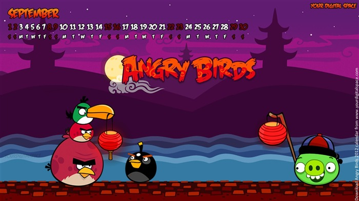 September-Angry bird the whole of 2012 Calendar Wallpaper Views:4759