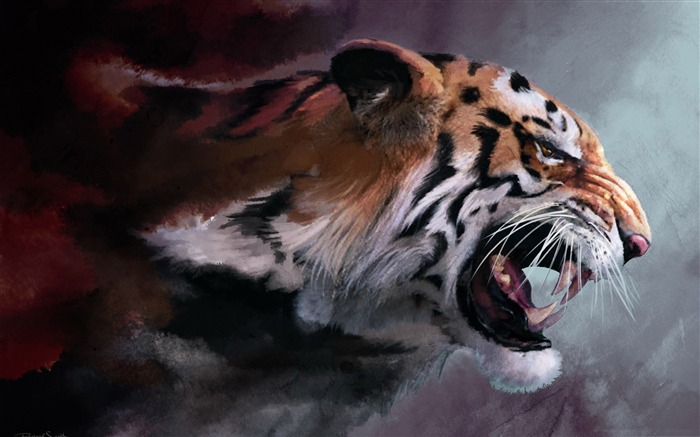 angry tiger-Amazing Artistic Painting Wallpaper Views:34514