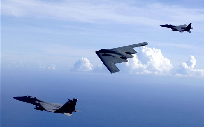 b2 spirit and f15 eagles-military aircraft wallpaper Views:28950