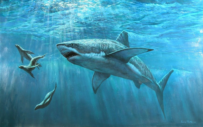 great white shark-Amazing Artistic Painting Wallpaper Views:29221