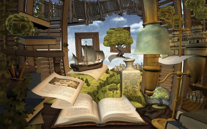lost in a good book-3D creative design wallpaper Views:5802