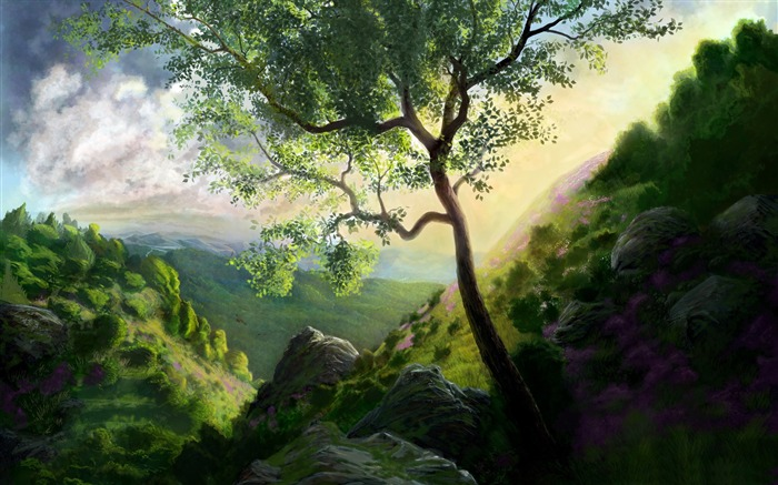 mountain scenery-Amazing Artistic Painting Wallpaper Views:5477