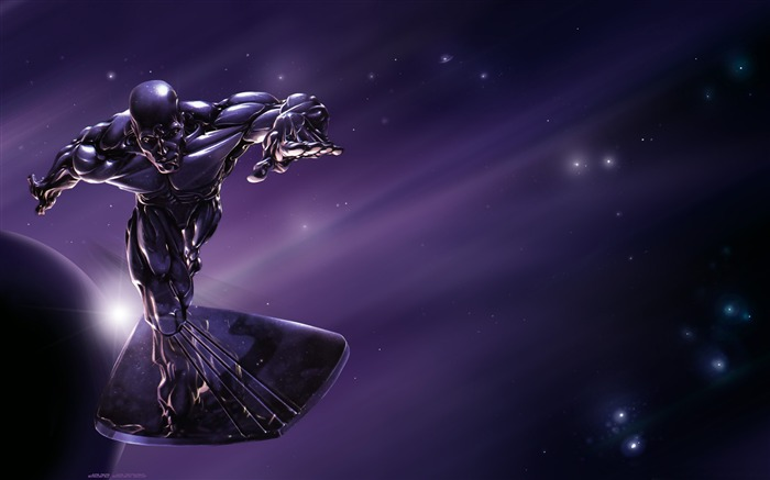 silver surfer superhero-3D creative design wallpaper Views:16178