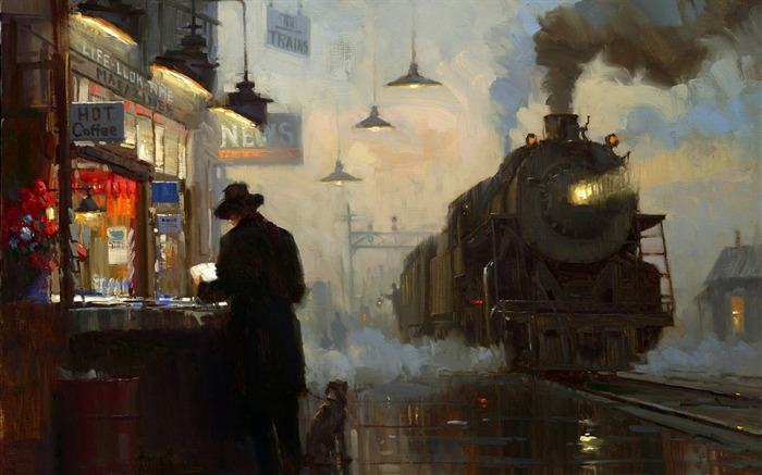 train station-Amazing Artistic Painting Wallpaper Views:8165