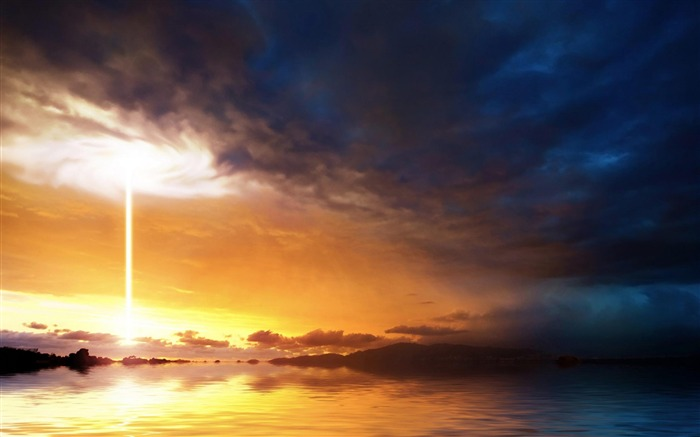 Vortex Storm Clouds Sunset Ocean-Nature Scenery Wallpaper Views:7080 Date:4/27/2012 7:26:54 PM