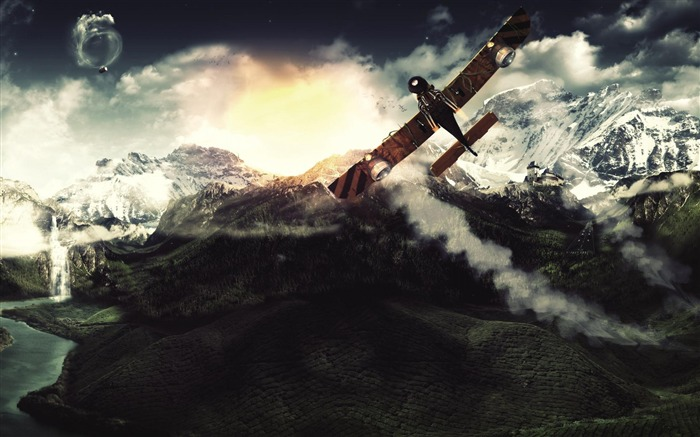 Aircraft Flight Mountain Creative-Military aircraft HD wallpaper Views:6511