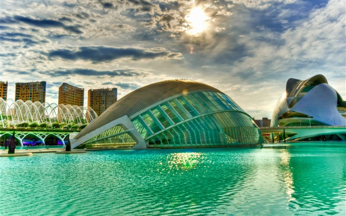 Building the sun green water-city architecture wallpaper Views:13478