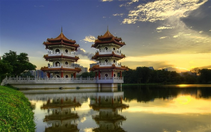 Chinese pagoda-city architecture wallpaper Views:7263