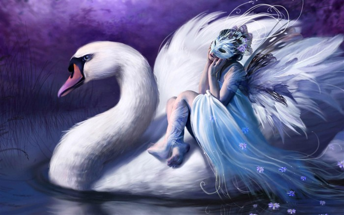 Swan Riding-Cartoon characters wallpaper Views:7675