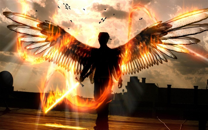 Wings Fiery Edge-Artistic creation design wallpaper Views:7541 Date:5/6/2012 3:37:16 PM