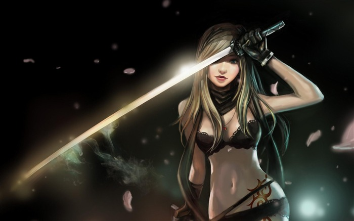 girl with a katana-Cartoon characters wallpaper Views:55452