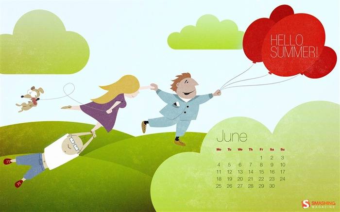 hello summer-June 2012 calendar wallpaper Views:4032