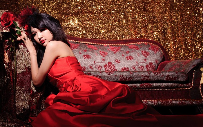 Asian Women Red Dress-Beauty model photo wallpaper Views:22316