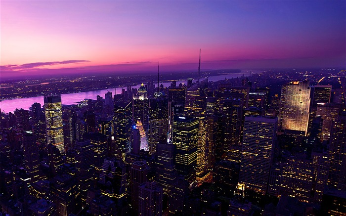 twilight in new york city-City travel landscape wallpaper Views:15395